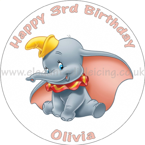 DUMBO BIRTHDAY CAKE PERSONALISED EDIBLE ROUND PRINTED CAKE TOPPER